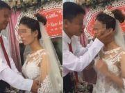 婚礼上新郎亲吻新娘出现如此一幕 场面极度尴尬