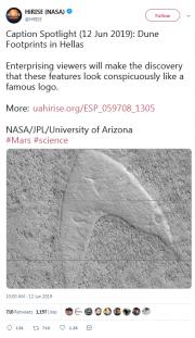火星表面惊现酷似星际舰队标志的图案,网友:外星人打招呼的方式?
