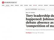 英首相热门候选人约翰逊缺席竞选辩论 遭外交大臣奚落