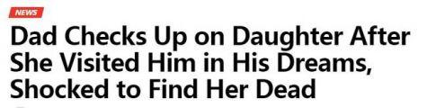 女儿亡妻突现梦中 老汉觉诡异发现女儿已身亡