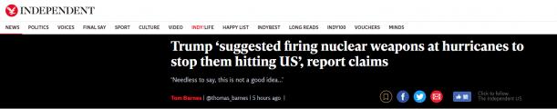 特朗普数次建议用核武器阻止飓风袭击美国