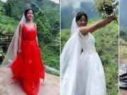 山村女孩穿塑料婚纱直播走红 有幕后推手?