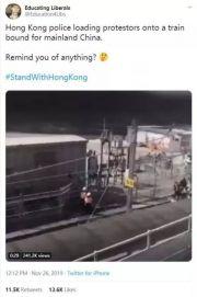 大批示威者被押上火车运往内地?