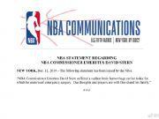 NBA名誉主席大卫-斯特恩突发脑溢血,已接受紧急手术
