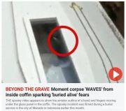 印尼一葬礼上遗体疑似朝棺材外挥手