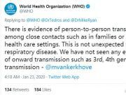 世界卫生组织:尚未看到病毒有第三代和第四代传播的证据