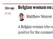 比利时确诊首例新型冠状病毒肺炎患者:无症状,新冠病毒检测呈阳性