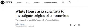 新冠病毒经过设计故意释放?白宫要求美科学家迅速调查病毒起源
