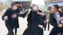 两男子强行外出殴打保安被一拳KO 物业:嘉奖1000元