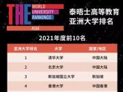 泰晤士高等教育亚洲大学排名发布:清华、北大位列前二
