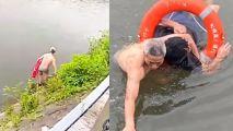 90秒!40米!男子被困河中,民警冲下河救人:这是他救的第11条命