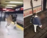 裸体男子将站台上乘客推入铁轨,自己摔倒被电死